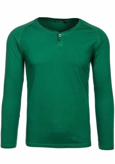 Zelené pánské tričko s dlouhým rukávem bez potisku Bolf 5547