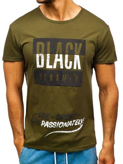 Zelené pánské tričko s potiskem Bolf 100683