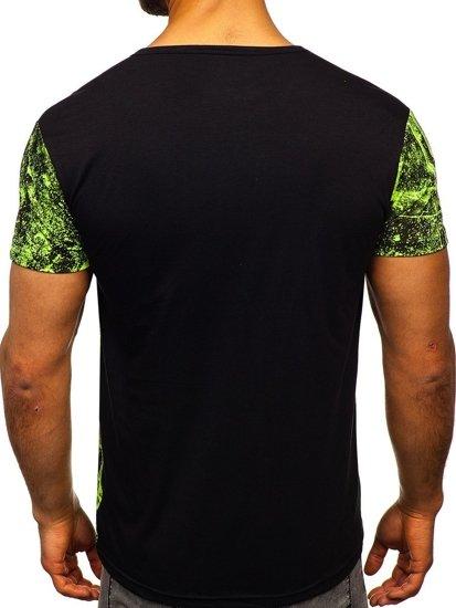 Zeleno-neonové pánské tričko s potiskem Bolf SS11017