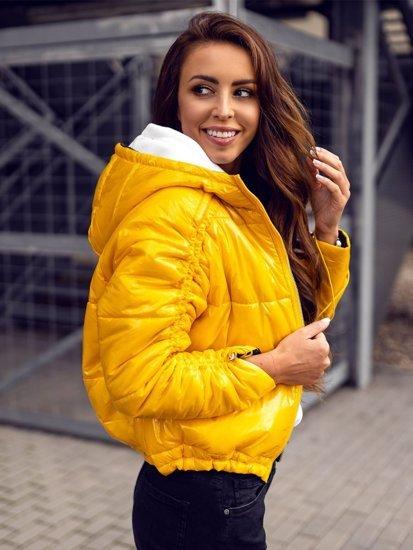 Žlutá dámská oboustranná prošívaná přechodová bunda s kapucí Bolf B9553