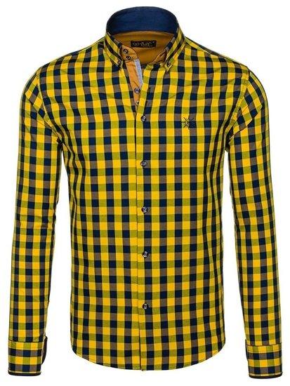 Žlutá pánská kostkovaná košile s dlouhým rukávem Bolf 4701
