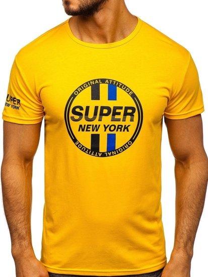Žluté pánské tričko s potiskem Bolf SS10937