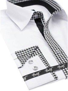 Bílá pánská elegantní košile s dlouhým rukávem Bolf 6873