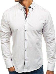 Bílá pánská elegantní košile s dlouhým rukávem Bolf 6943