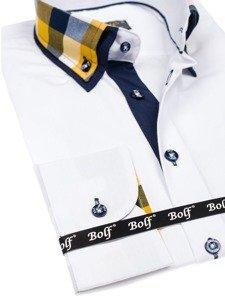 Bílá pánská elegantní košile s dlouhým rukávem Bolf 6966