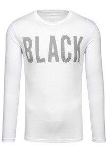 Bílé pánské tričko s dlouhým rukávem s potiskem Bolf 128