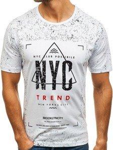 Bílé pánské tričko s potiskem Bolf 6302