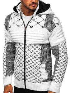 Bílý pánský silný svetr na zip s kapucí bunda Bolf 2060