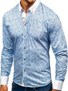 Blankytná pánská vzorovaná košile s dlouhým rukávem Bolf 8842
