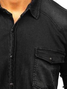 Černá pánská džínová košile s dlouhým rukávem Bolf 2063