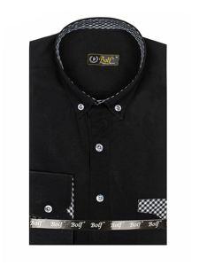Černá pánská elegantní košile s dlouhým rukávem Bolf 4711