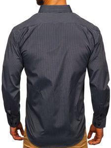 Černá pánská elegantní proužkovaná košile s dlouhým rukávem Bolf NDT10