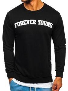 Černá pánská mikina bez kapuce s potiskem FOREVER YOUNG Bolf 11116