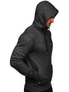 Černá pánská mikina na zip s kapucí Bolf TC994