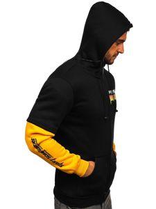 Černá pánská mikina na zip s kapucí a se sluchátky Bolf HY611