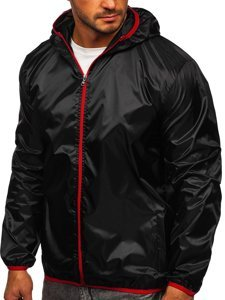 Černá pánská přechodová bunda s kapucí větrovka Bolf 5060