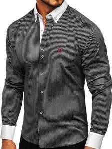 Černá pánská proužkovaná košile s dlouhým rukávem Bolf 9717