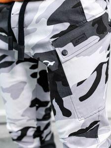 Černo-bílé pánské maskáčové jogger kalhoty Bolf 11103