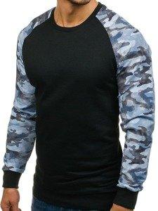 Černo-modrá pánská mikina bez kapuce Bolf 0883