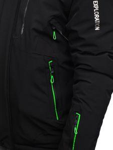 Černo-zelená pánská zimní lyžářská bunda Bolf 1910