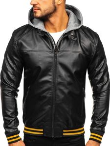 Černo-žlutá pánská koženková bunda s kapucí Bolf HY616