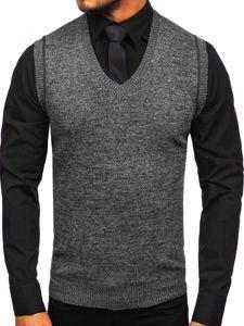 Černý pánský svetr bez rukávů Bolf 8121