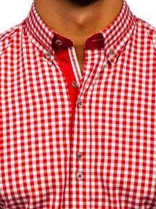 Červená pánská kostkovaná košile s dlouhým rukávem Bolf 9712