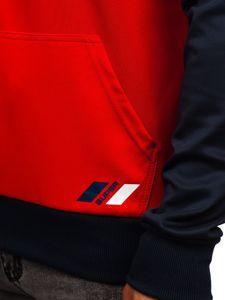 Červená pánská mikina s kapucí a potiskem Bolf DD20127
