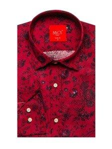 Červená pánská vzorovaná košile s dlouhým rukávem Bolf 200G7