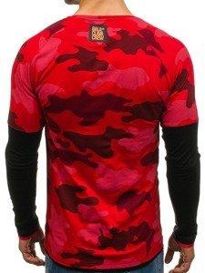 Červené pánské tričko s dlouhým rukávem Bolf 1162