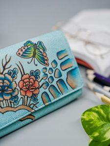 Dámská modrá kožená peněženka 3090