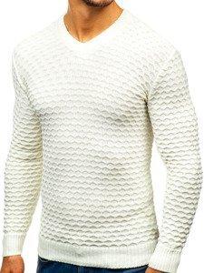 Ecru pánský svetr s výstřihem do V Bolf 6005