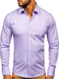 Fialová pánská elegantní košile s dlouhým rukávem Bolf TS50