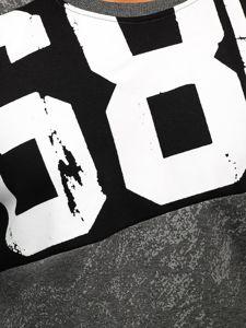 Grafitová pánská mikina bez kapuce s potiskem Bolf DD108