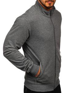 Grafitová pánská mikina na zip bez kapuce Bolf JX9832