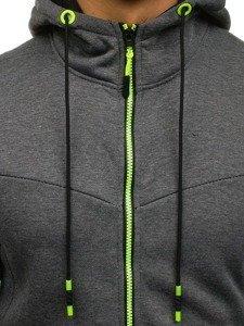 Grafitová pánská mikina na zip s kapucí Bolf DD75