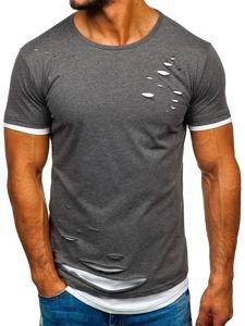 Grafitové pánské tričko bez potisku Bolf 10999