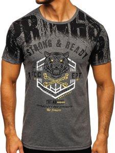 Grafitové pánské tričko s potiskem Bolf SS10958