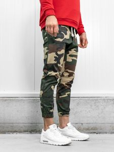 Hnědé pánské maskáčové jogger kalhoty Bolf 0367