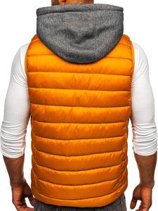 Kamelová pánská prošíváná vesta s kapucí Bolf B2901