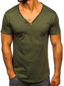 Khaki pánské tričko bez potisku Bolf 4049