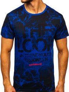 Kobaltové pánské tričko s potiskem Bolf JS627