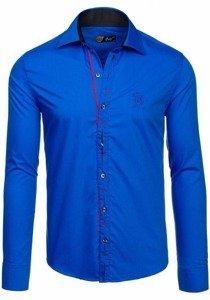 Královsky modrá pánská elegantní košile s dlouhým rukávem Bolf 1769-A