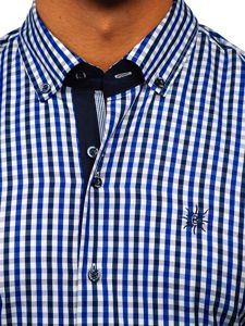 Kralovsky modrá pánská kostkovaná košile s krátkým rukávem Bolf 4510