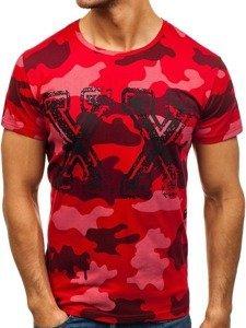 Maskáčovo-červené pánské tričko s potiskem Bolf 2100