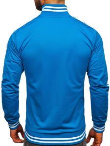 Modrá pánská mikina na zip bez kapuce retro style Bolf 11113