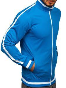 Modrá pánská mikina na zip bez kapuce retro style Bolf 2126