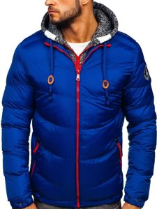 Modrá pánská prošívaná sportovní zimní bunda Bolf 50A155