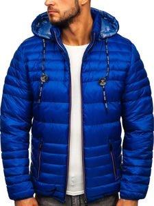 Modrá pánská prošívaná sportovní zimní bunda Bolf 50A215