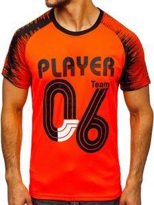 Oranžové pánské tričko s potiskem Bolf KS2065